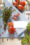 Fresh ingredients and blank paper Royalty Free Stock Image
