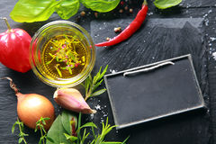Fresh ingredients with a blank slate Royalty Free Stock Photo