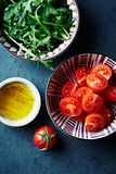 Fresh ingredients for cherry tomato salad Stock Images