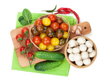 Fresh ingredients for cooking: tomato, cucumber, mushroom and sp Stock Image