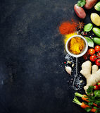 Fresh  ingredients on dark background Stock Images