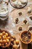 Fresh ingredients for dumplings with mushrooms Stock Images