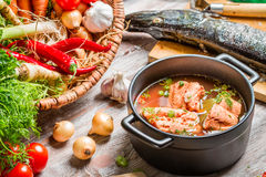 Fresh ingredients for fish soup royalty free stock images