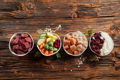Fresh ingredients for a healthy animal diet stock photos