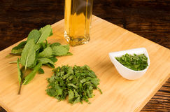 Mint sauce ingredients Royalty Free Stock Images