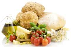 Fresh ingredients for an Italian dinner royalty free stock photography