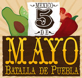 Fresh Ingredients of Mexican Cuisine for Cinco de Mayo Event, Vector Illustration. Poster with fresh veggies -avocado, lemon, chili pepper and tomato- and Stock Photo