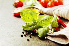 Fresh ingredients on old background Stock Photo