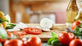 Fresh ingredients for preparing a Caprese salad stock photography
