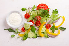 Fresh ingredients for salad Stock Photo
