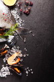 Fresh ingredients for a seafood meal Royalty Free Stock Photo