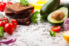 Fresh ingredients for vegetarian sandwiches Stock Image