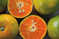 Fresh inside orange ingredient after cut Royalty Free Stock Photography