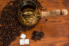Fresh,invigorating coffee with chocolate. In the early morning Stock Photography