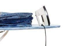 Fresh Ironed Blue Jeans Royalty Free Stock Photos