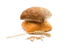 Fresh Italian bread ciabatta with ears of wheat Royalty Free Stock Photography