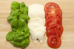 Fresh Italian Food Flag. Made up of basil mozzarella and tomatoes stock photos