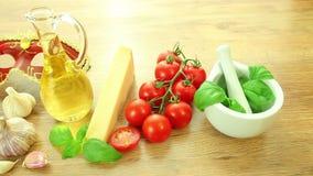 Fresh italian food ingredients with Venetian mask stock footage