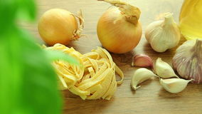 Fresh italian food ingredients on wooden table stock video footage