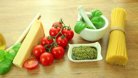 Fresh italian food ingredients on wooden table stock video