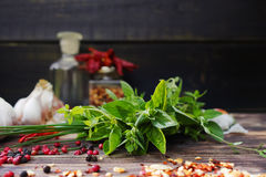 Fresh italian herbs, garlic and  dried red hot chili peppers - i Royalty Free Stock Photography
