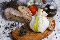 Fresh Italian mozzarella burrata Stock Images