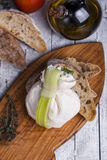 Fresh Italian mozzarella burrata Stock Photo