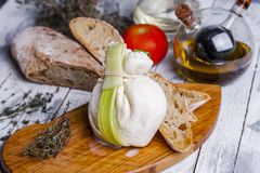 Fresh Italian mozzarella burrata Stock Image