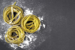 Fresh Italian pasta. On a dark background Royalty Free Stock Image