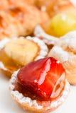 Italian pasta frolla tarts. Fresh italian pastry pasta frolla and cream pastries Stock Photos