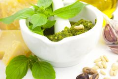Fresh Italian Pesto and its ingredients Stock Photography