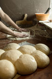 Fresh Italian pizza dough. Fresh original Italian raw pizza, dough preparation in traditional style Stock Photo