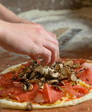Fresh Italian pizza dough. Fresh original Italian raw pizza, dough preparation in traditional style Stock Photography