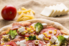 Fresh Italian pizza. With tomato and broccoli Royalty Free Stock Images