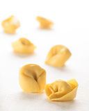 Fresh italian ravioli on white. Selective focus Royalty Free Stock Photo