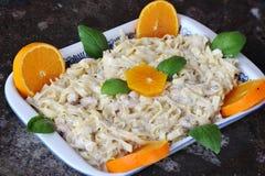 Fresh italian seafood pasta and oranges Royalty Free Stock Image