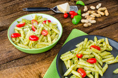 Fresh italien pasta with basil Royalty Free Stock Images