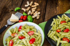 Fresh italien pasta with basil Stock Image