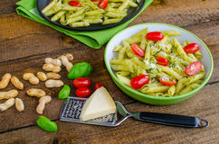 Fresh italien pasta with basil Stock Photography