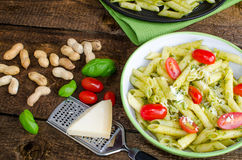 Fresh italien pasta with basil Royalty Free Stock Image