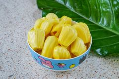 Jackfruit , Fresh sweet jackfruit slices on a cup royalty free stock image