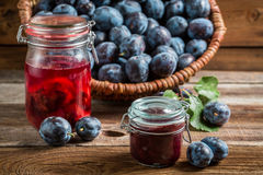 Fresh jam from plum in the pantry Royalty Free Stock Image