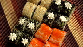 Fresh japanese delicious rolls stock footage