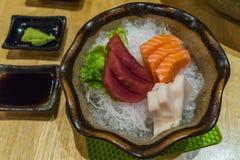 Fresh Japanese food sliced Sashimi set, Hirame Salmon and Tuna Stock Photo