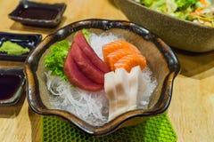 Fresh Japanese food sliced Sashimi set, Hirame Salmon and Tuna Stock Photos