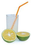 Fresh japanese satsuma tangerines juice inside a glass Royalty Free Stock Photography