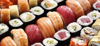 Fresh japanese sushi Royalty Free Stock Images