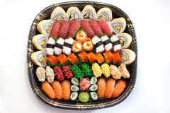 Fresh Japanese Sushi Platter. Assorted sushi on a platter Stock Image
