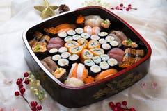 Fresh Japanese Sushi Platter. Assorted sushi on a platter Royalty Free Stock Images