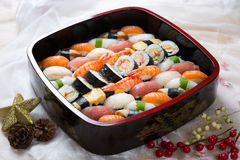 Fresh Japanese Sushi Platter. Assorted sushi on a platter Royalty Free Stock Photos
